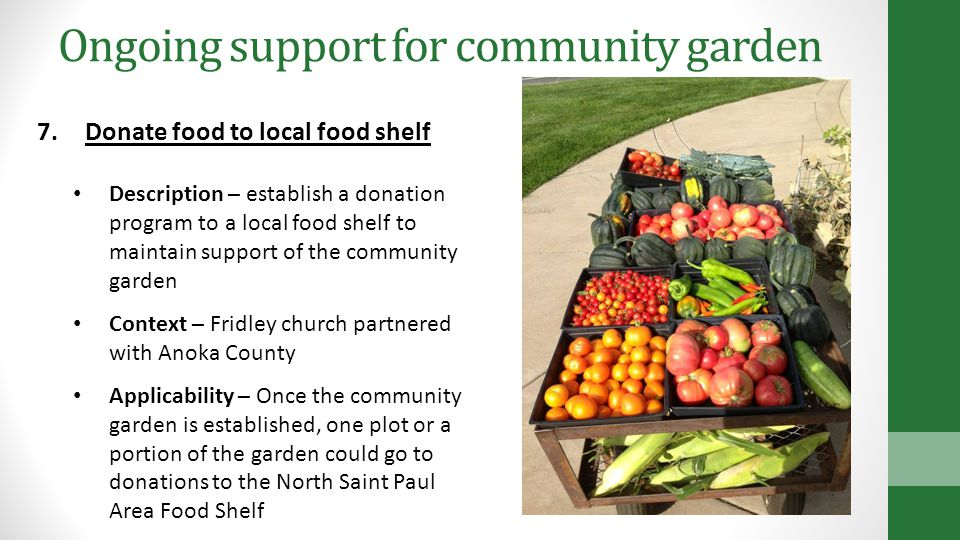 Ongoing support for community garden 7.Donate food to local food shelf Description – establish a donation program to a local food shelf to maintain support of the community garden Context – Fridley church partnered with Anoka County Applicability – Once the community garden is established, one plot or a portion of the garden could go to donations to the North Saint Paul Area Food Shelf