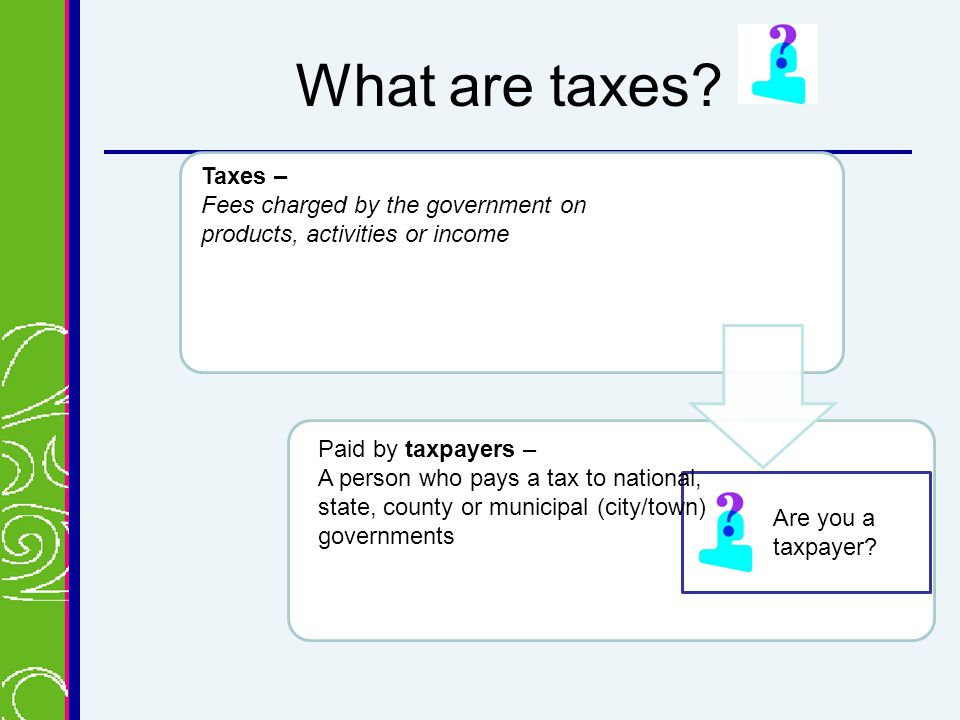 What are taxes. Are you a taxpayer.