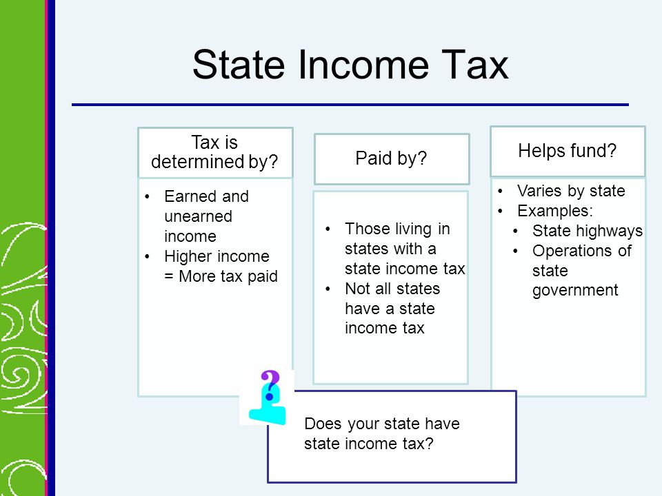 State Income Tax Tax is determined by. Paid by. Helps fund.