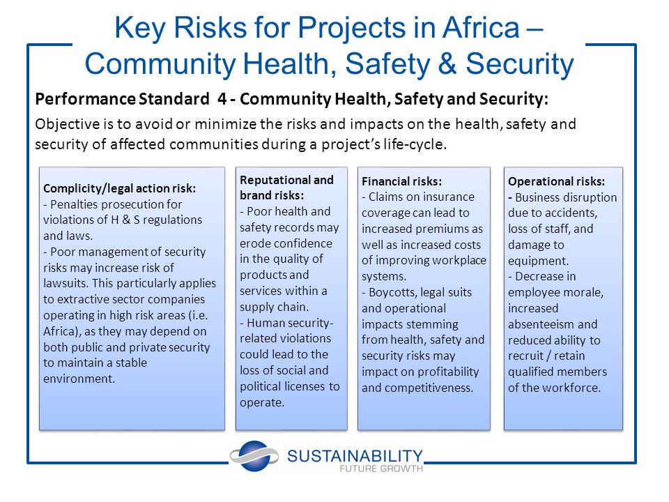 Performance Standard 4 - Community Health, Safety and Security: Objective is to avoid or minimize the risks and impacts on the health, safety and security of affected communities during a project's life-cycle.