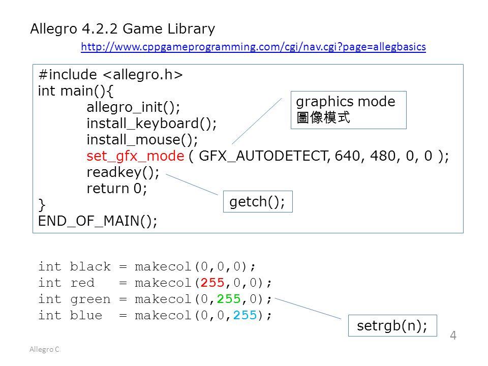 Allegro C 1 Allegro Game Library download: allegro-minGW zip