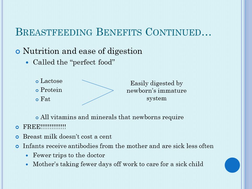 B REASTFEEDING B ENEFITS C ONTINUED … Nutrition and ease of digestion Called the perfect food Lactose Protein Fat All vitamins and minerals that newborns require FREE!!!!!!!!!!!!!.