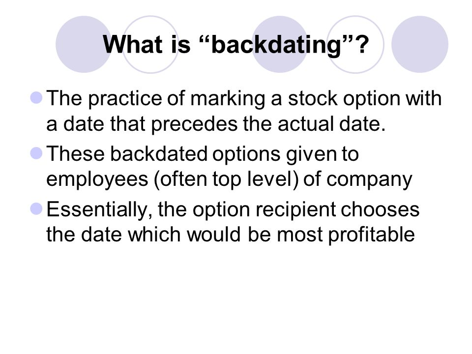 Option backdating and its implications define