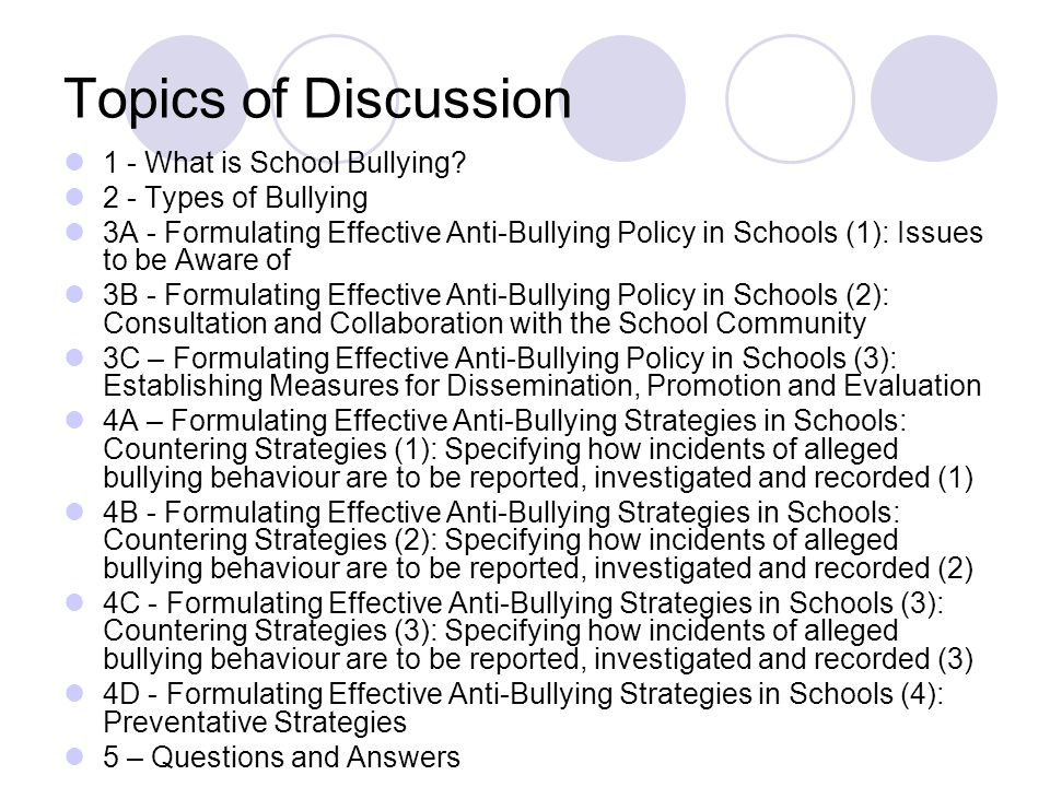 Topics of Discussion 1 - What is School Bullying.