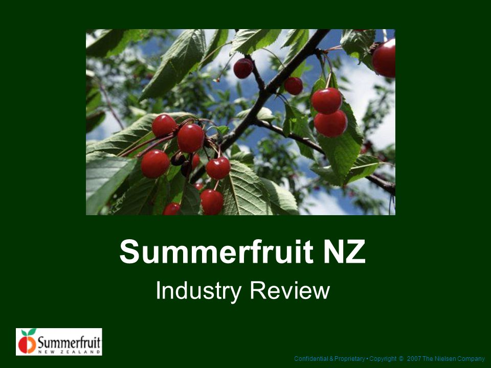 Confidential & Proprietary Copyright © 2007 The Nielsen Company Summerfruit NZ Industry Review