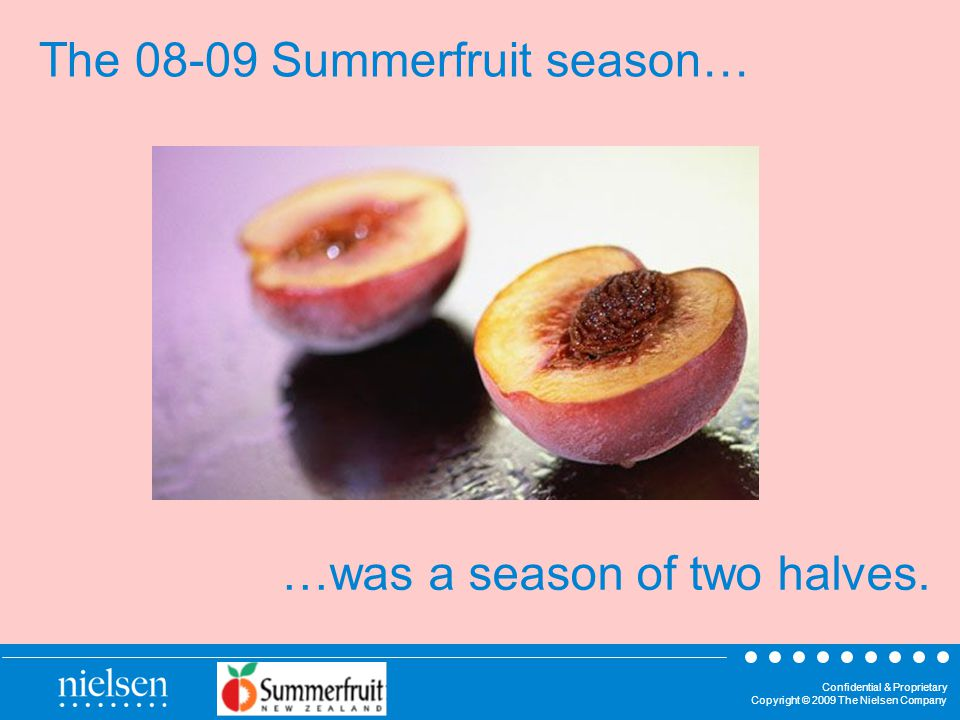 Confidential & Proprietary Copyright © 2009 The Nielsen Company The Summerfruit season… …was a season of two halves.