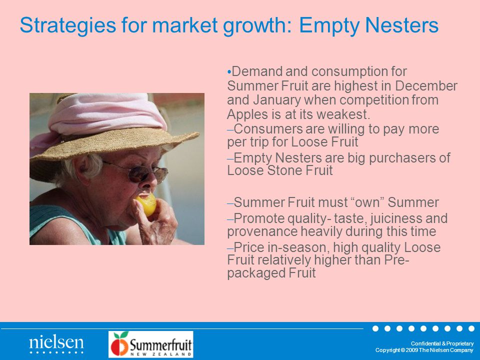 Confidential & Proprietary Copyright © 2009 The Nielsen Company Strategies for market growth: Empty Nesters Demand and consumption for Summer Fruit are highest in December and January when competition from Apples is at its weakest.