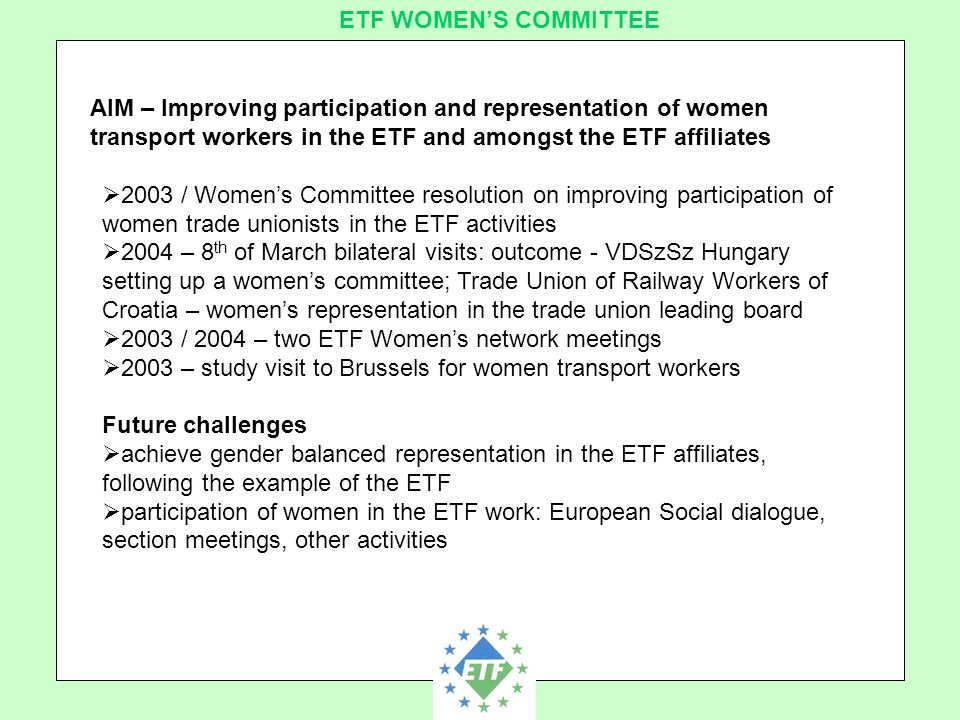 European Transport Workers´ Federation ETF WOMEN'S COMMITTEE AIM – Improving participation and representation of women transport workers in the ETF and amongst the ETF affiliates  2003 / Women's Committee resolution on improving participation of women trade unionists in the ETF activities  2004 – 8 th of March bilateral visits: outcome - VDSzSz Hungary setting up a women's committee; Trade Union of Railway Workers of Croatia – women's representation in the trade union leading board  2003 / 2004 – two ETF Women's network meetings  2003 – study visit to Brussels for women transport workers Future challenges  achieve gender balanced representation in the ETF affiliates, following the example of the ETF  participation of women in the ETF work: European Social dialogue, section meetings, other activities