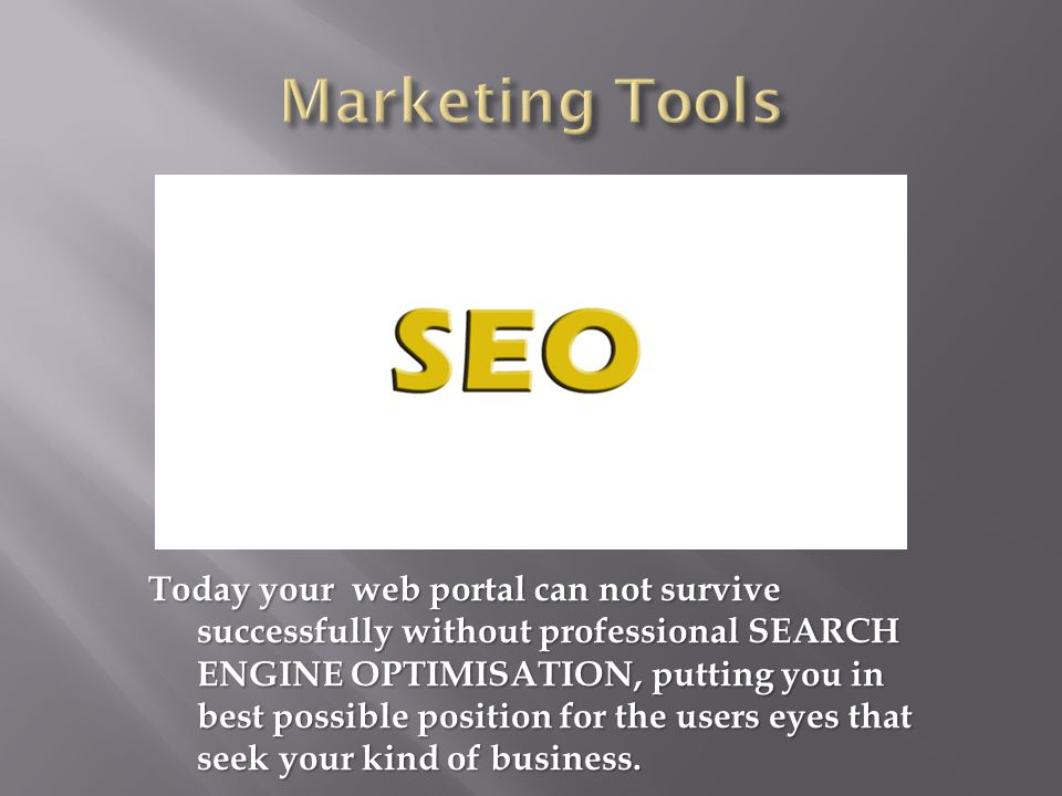 Today your web portal can not survive successfully without professional SEARCH ENGINE OPTIMISATION, putting you in best possible position for the users eyes that seek your kind of business.