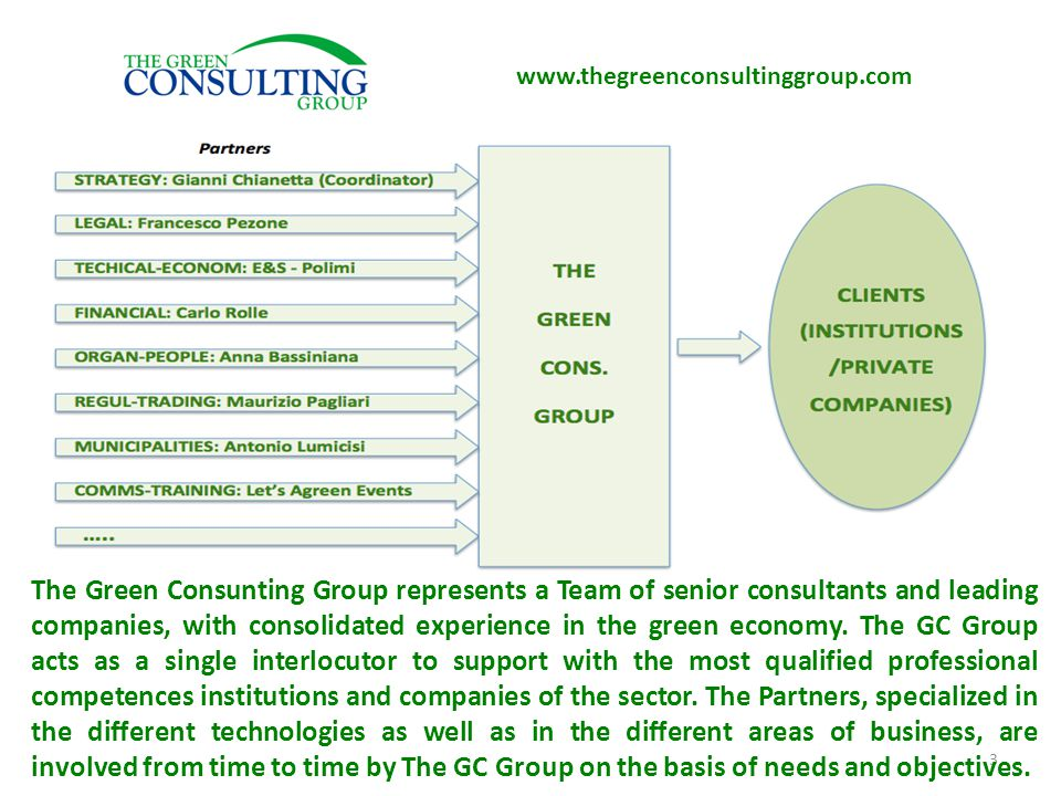 3 The Green Consunting Group represents a Team of senior consultants and leading companies, with consolidated experience in the green economy.
