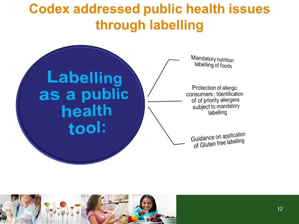 12 Codex addressed public health issues through labelling