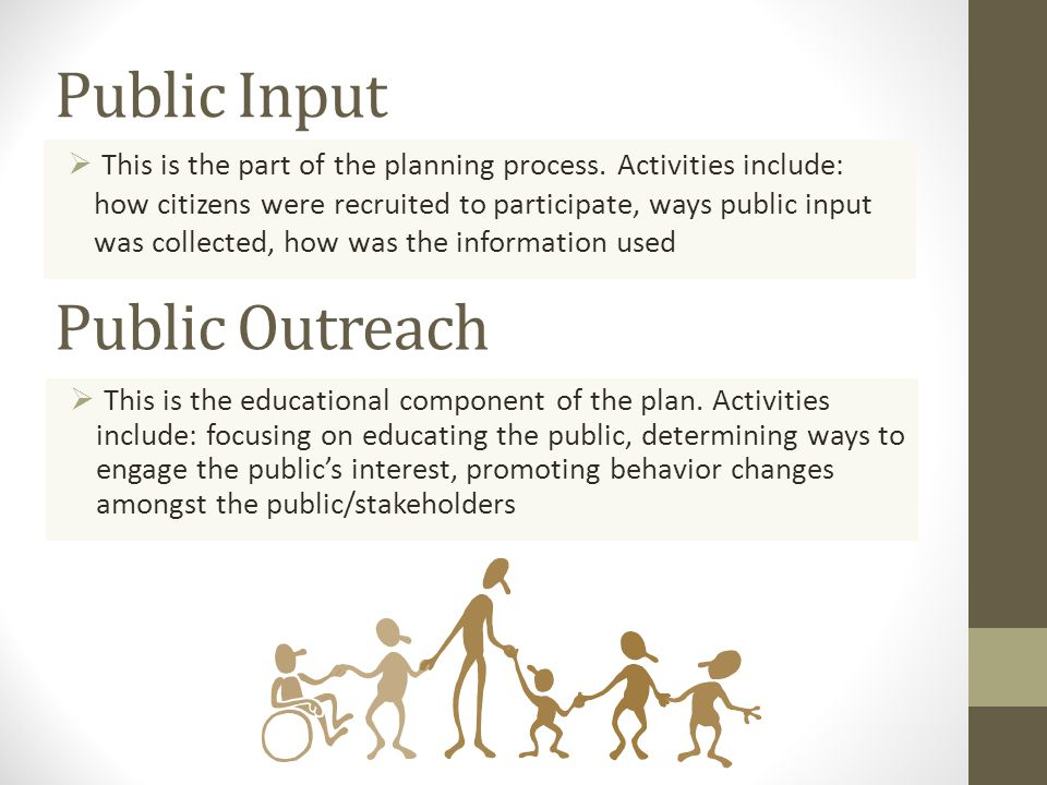 Public Input  This is the part of the planning process.