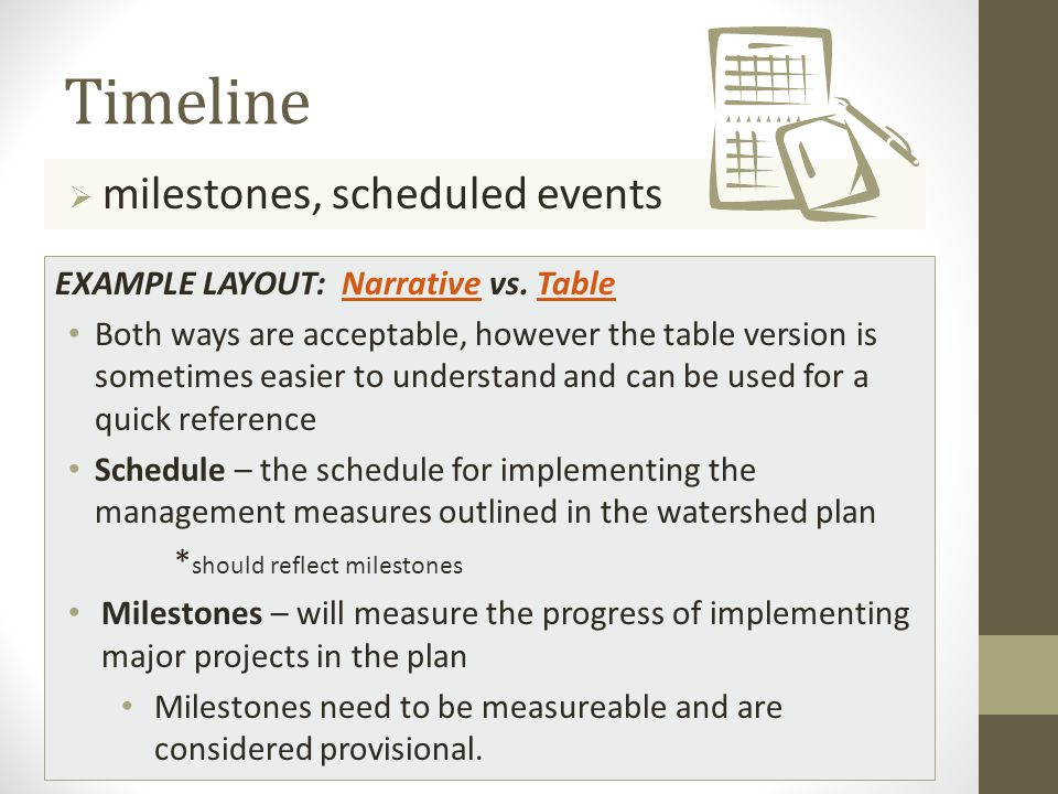 Timeline  milestones, scheduled events EXAMPLE LAYOUT: Narrative vs.