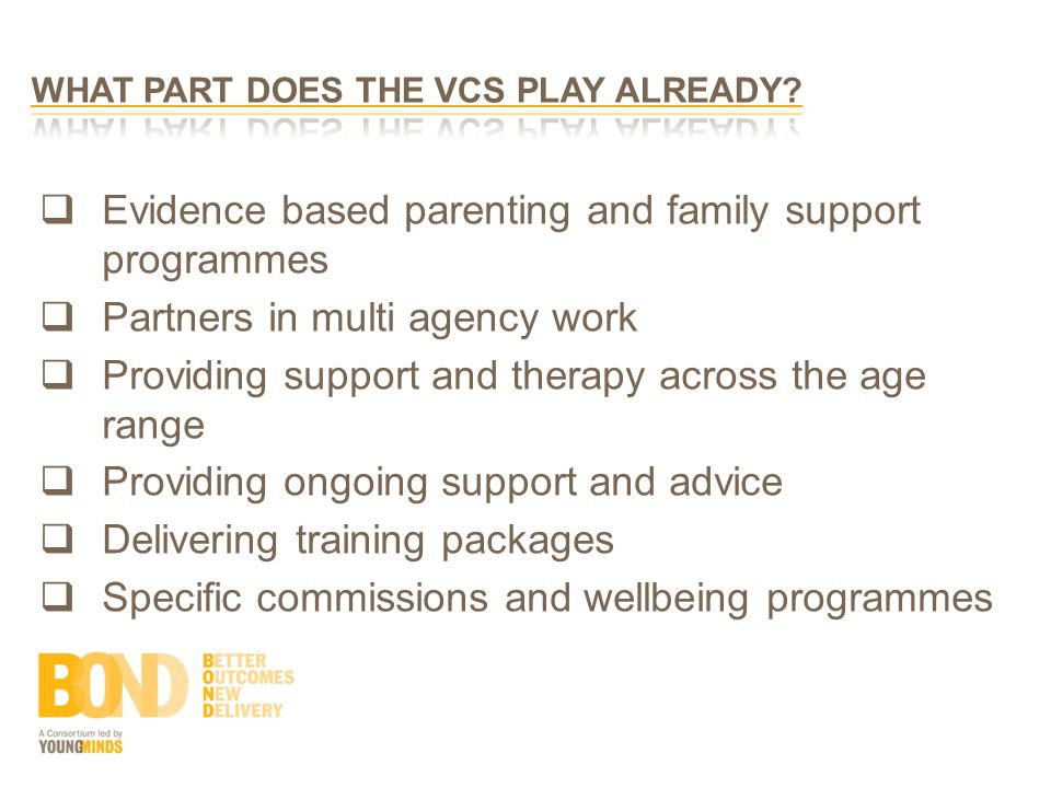  Evidence based parenting and family support programmes  Partners in multi agency work  Providing support and therapy across the age range  Providing ongoing support and advice  Delivering training packages  Specific commissions and wellbeing programmes