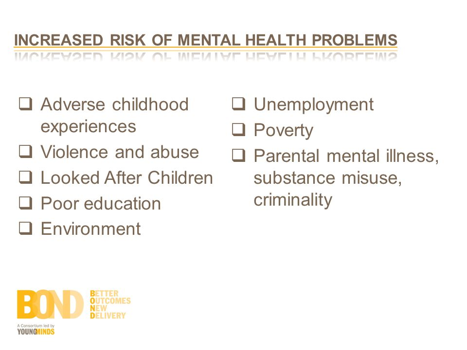  Adverse childhood experiences  Violence and abuse  Looked After Children  Poor education  Environment  Unemployment  Poverty  Parental mental illness, substance misuse, criminality
