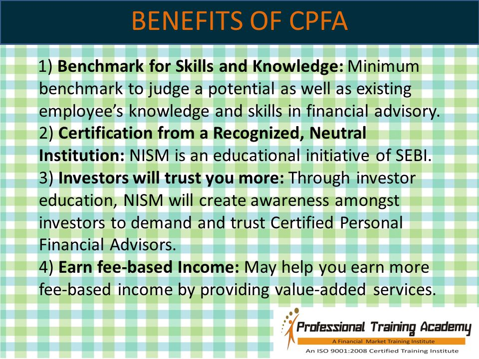 CERTIFIED PERSONAL FINANCIAL ADVISOR. CPFA Independent Financial ...
