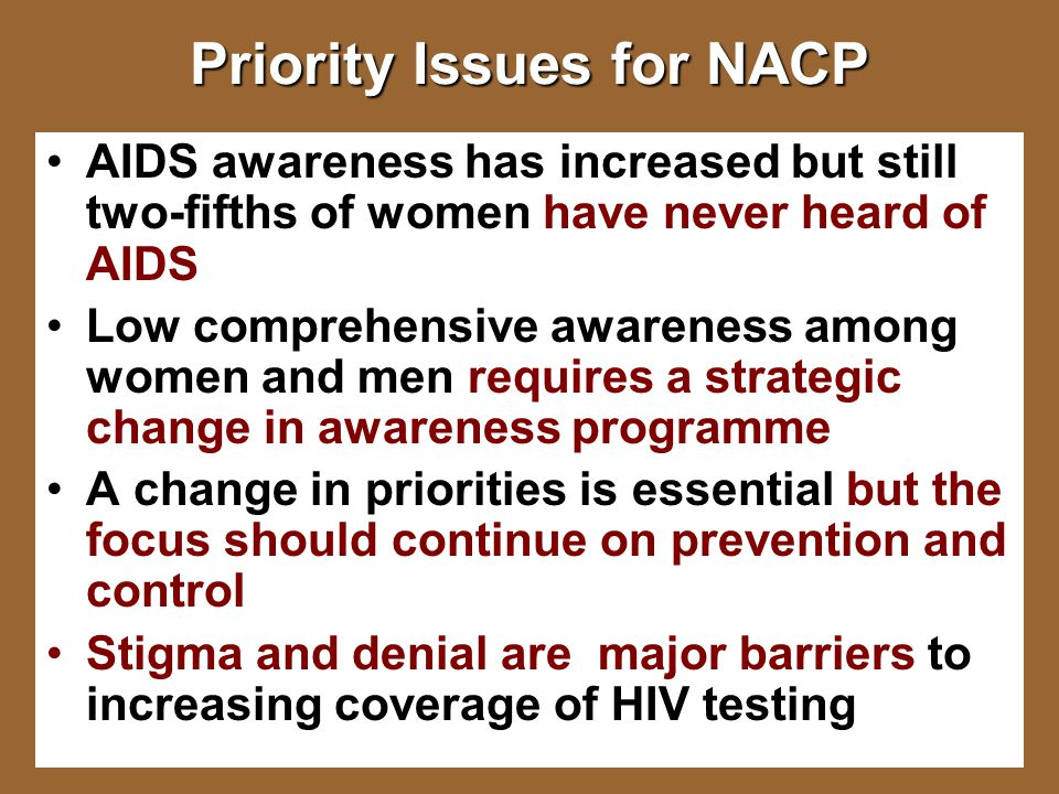 Priority Issues for NACP AIDS awareness has increased but still two-fifths of women have never heard of AIDS Low comprehensive awareness among women and men requires a strategic change in awareness programme A change in priorities is essential but the focus should continue on prevention and control Stigma and denial are major barriers to increasing coverage of HIV testing