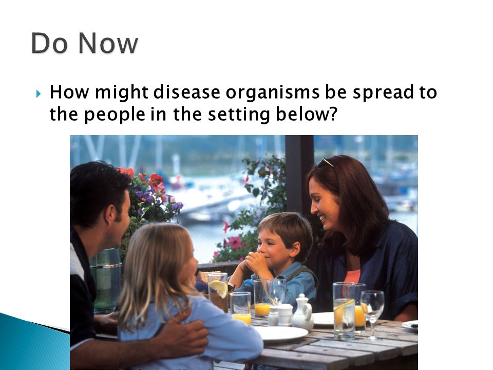  How might disease organisms be spread to the people in the setting below