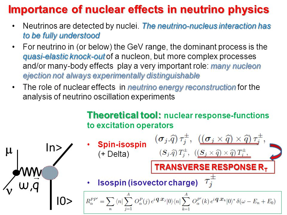 Importance of nuclear effects in neutrino physics The neutrino-nucleus interaction has to be fully understoodNeutrinos are detected by nuclei.