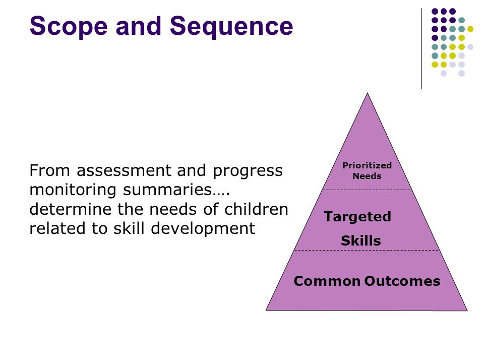 Scope and Sequence Common Outcomes Prioritized Needs Targeted Skills From assessment and progress monitoring summaries….