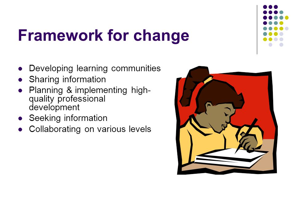 Framework for change Developing learning communities Sharing information Planning & implementing high- quality professional development Seeking information Collaborating on various levels