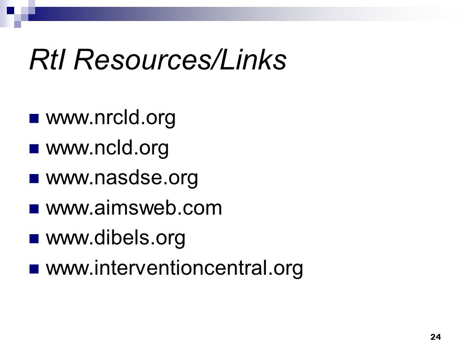 24 RtI Resources/Links