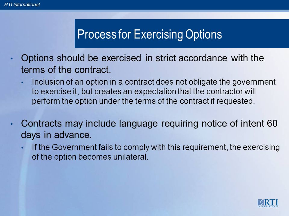 notice of intent to exercise option