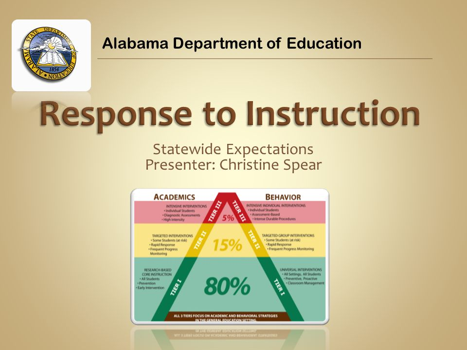 Statewide Expectations Presenter: Christine Spear Alabama Department of Education