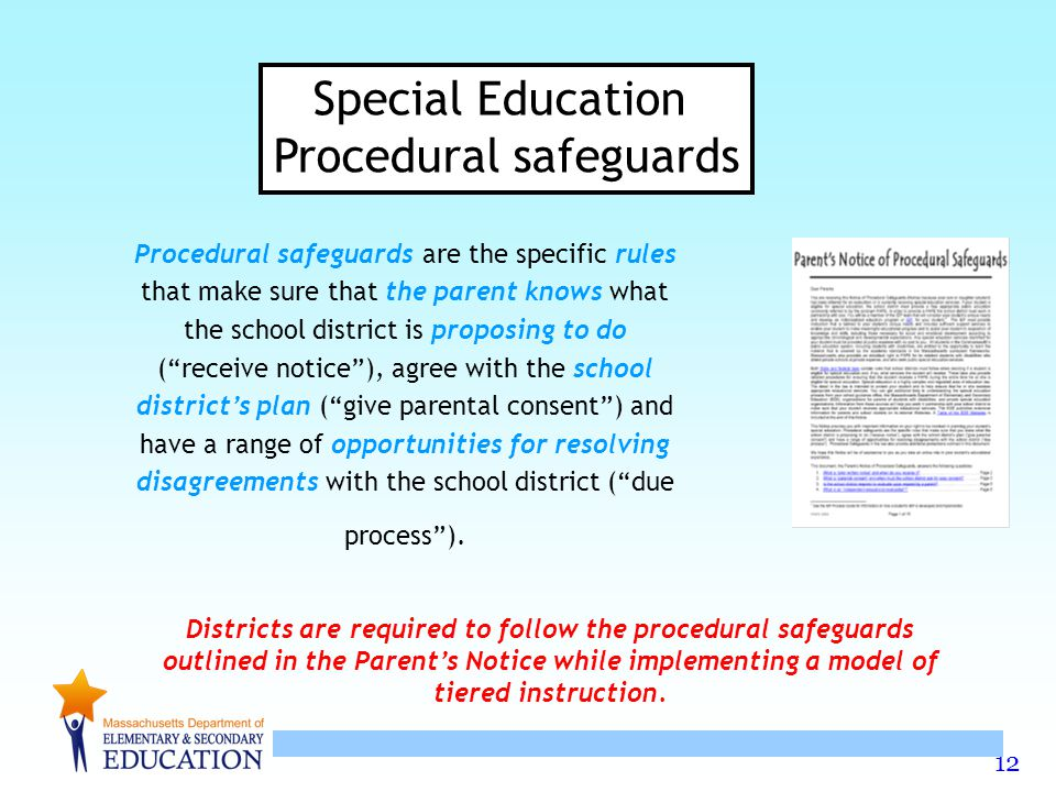 12 Procedural safeguards are the specific rules that make sure that the parent knows what the school district is proposing to do ( receive notice ), agree with the school district's plan ( give parental consent ) and have a range of opportunities for resolving disagreements with the school district ( due process ).