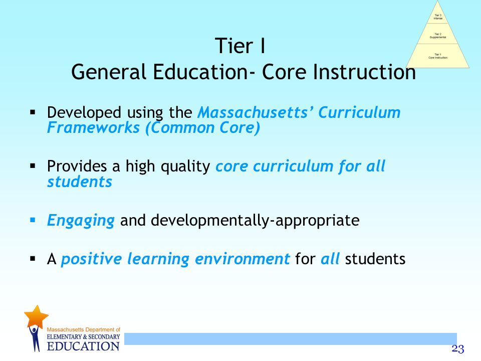 23 Tier I General Education- Core Instruction  Developed using the Massachusetts' Curriculum Frameworks (Common Core)  Provides a high quality core curriculum for all students  Engaging and developmentally-appropriate  A positive learning environment for all students