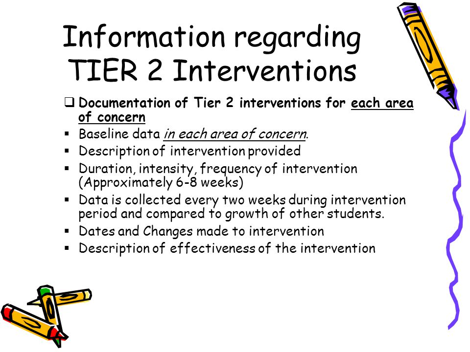 Information regarding TIER 2 Interventions  Documentation of Tier 2 interventions for each area of concern  Baseline data in each area of concern.