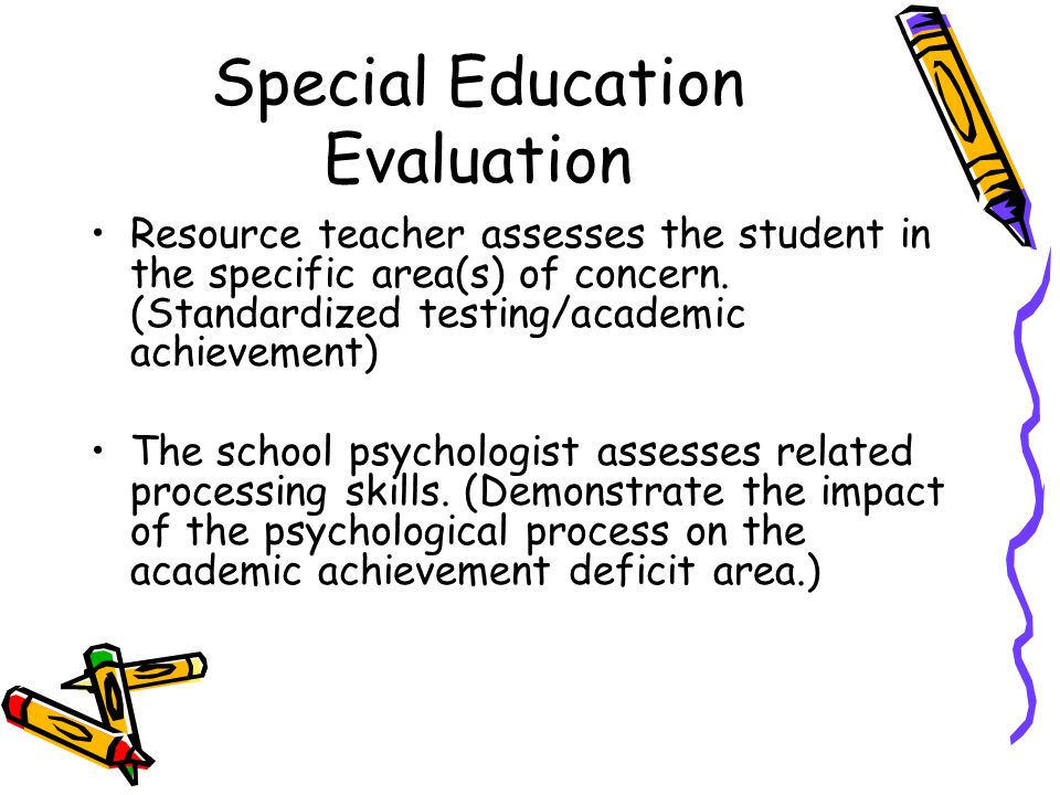 Special Education Evaluation Resource teacher assesses the student in the specific area(s) of concern.