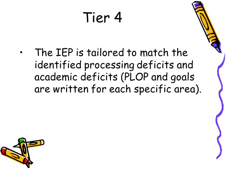 Tier 4 The IEP is tailored to match the identified processing deficits and academic deficits (PLOP and goals are written for each specific area).