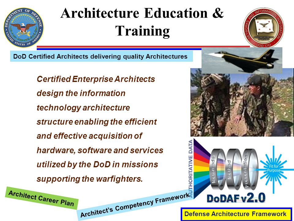 Architecture Education & Training Defense Architecture Framework DoD Certified Architects delivering quality Architectures Certified Enterprise Architects design the information technology architecture structure enabling the efficient and effective acquisition of hardware, software and services utilized by the DoD in missions supporting the warfighters.