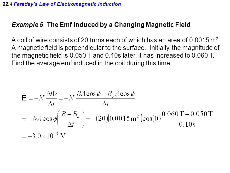 22.4 Faraday's Law of Electromagnetic Induction Example 5 The Emf Induced by a Changing Magnetic Field A coil of wire consists of 20 turns each of which has an area of m 2.