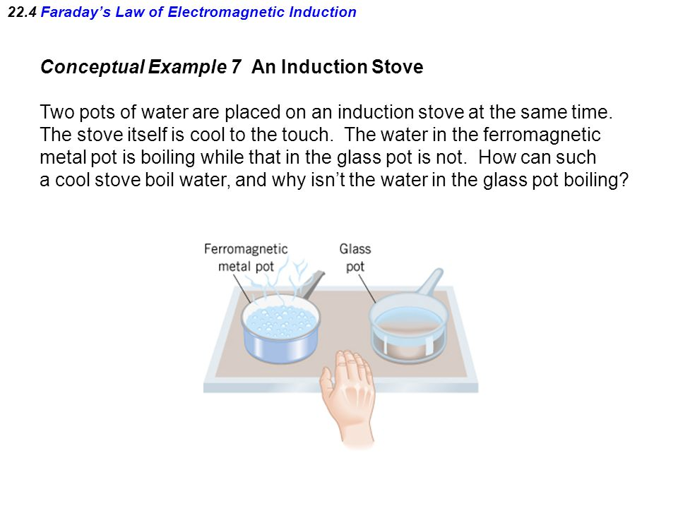 22.4 Faraday's Law of Electromagnetic Induction Conceptual Example 7 An Induction Stove Two pots of water are placed on an induction stove at the same time.