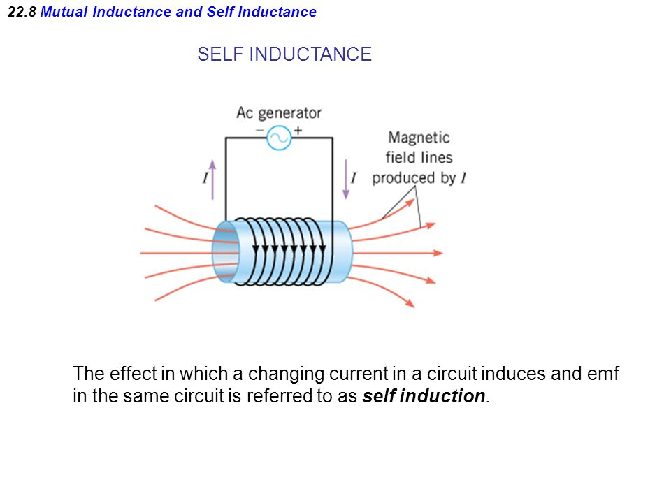 22.8 Mutual Inductance and Self Inductance SELF INDUCTANCE The effect in which a changing current in a circuit induces and emf in the same circuit is referred to as self induction.