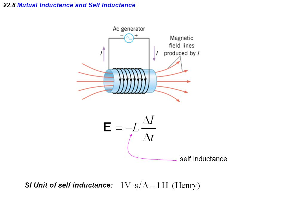 22.8 Mutual Inductance and Self Inductance SI Unit of self inductance: self inductance