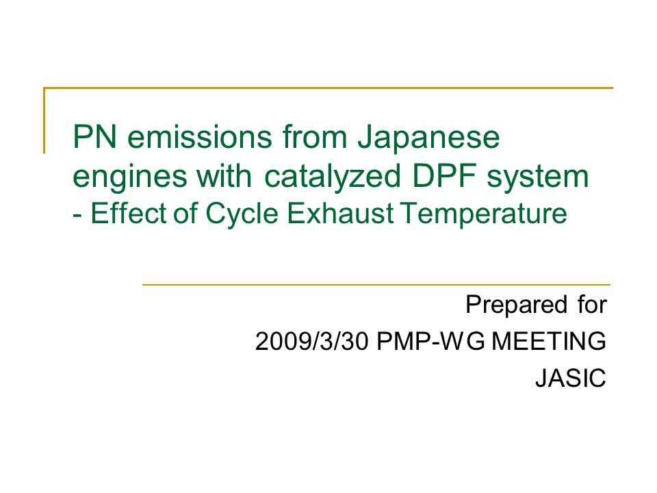 PN emissions from Japanese engines with catalyzed DPF system