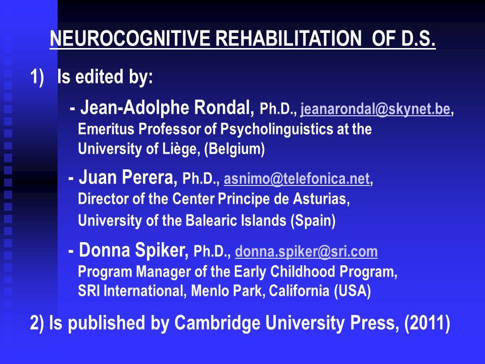 neurocognitive rehabilitation of down syndrome rondal jean adolphe perera juan spiker donna