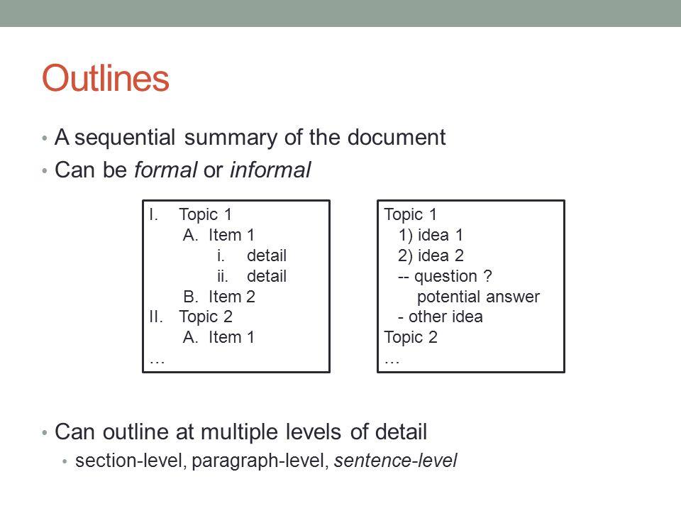2 level sentence outline