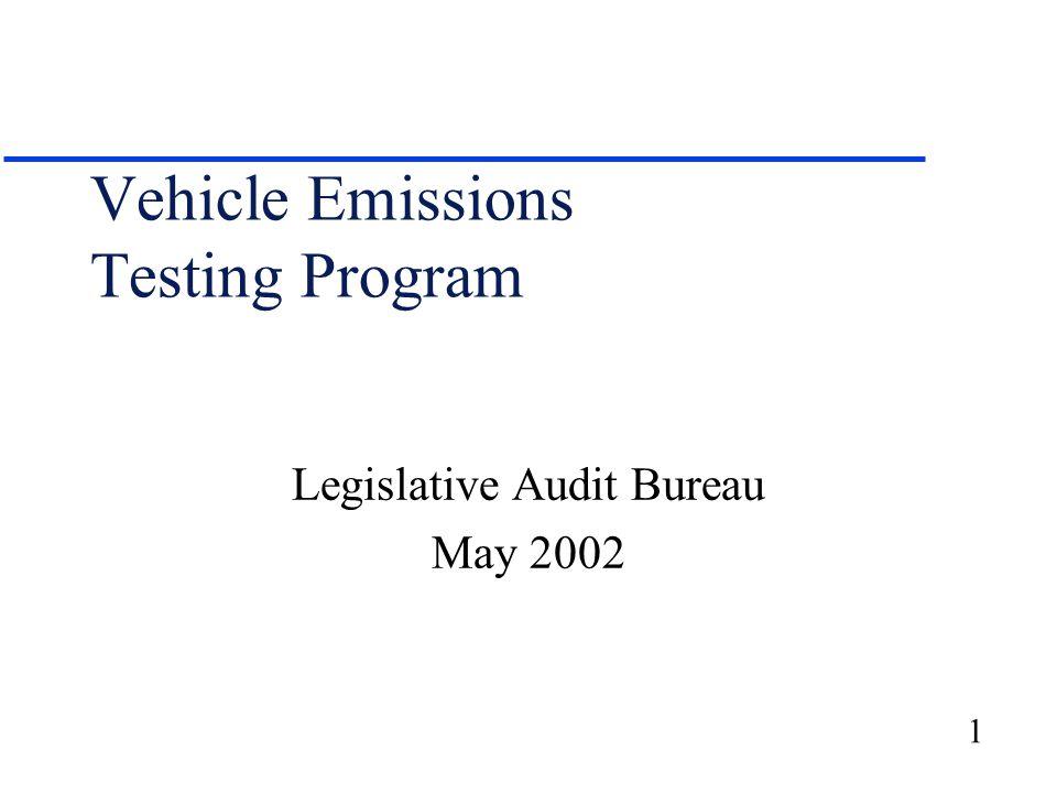 Emission Test Kenosha >> 1 Vehicle Emissions Testing Program Legislative Audit Bureau May Ppt