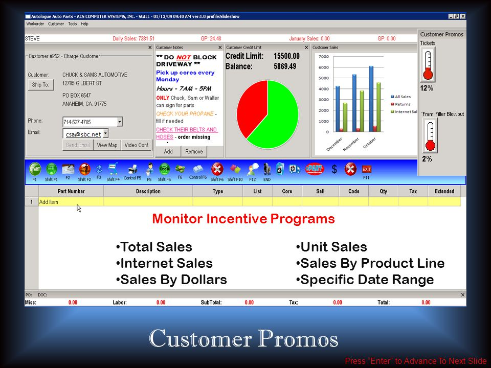 Press Enter to Advance To Next Slide Total Sales Internet Sales Sales By Dollars Unit Sales Sales By Product Line Specific Date Range Customer Promos Monitor Incentive Programs