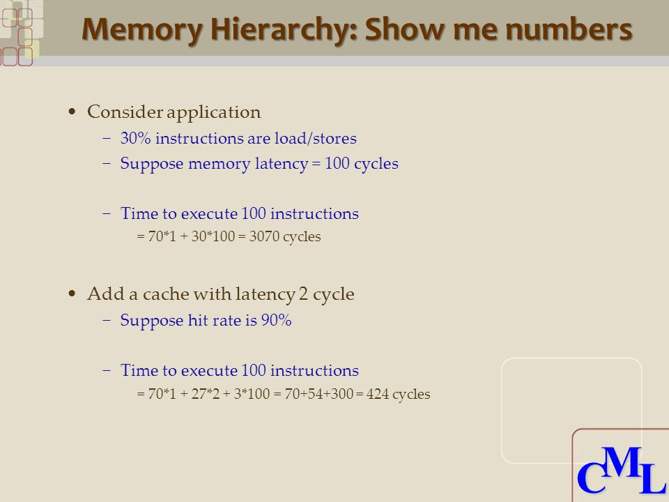 CML CML Memory Hierarchy: Show me numbers Consider application −30% instructions are load/stores −Suppose memory latency = 100 cycles −Time to execute 100 instructions = 70*1 + 30*100 = 3070 cycles Add a cache with latency 2 cycle −Suppose hit rate is 90% −Time to execute 100 instructions = 70*1 + 27*2 + 3*100 = = 424 cycles