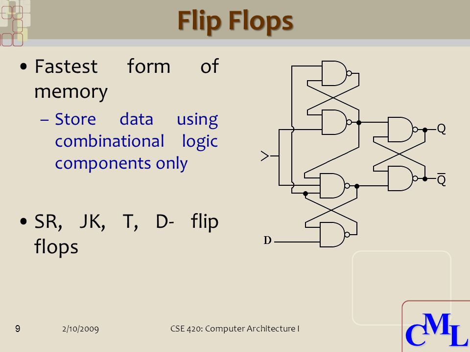 CML CML Flip Flops Fastest form of memory –Store data using combinational logic components only SR, JK, T, D- flip flops 2/10/2009CSE 420: Computer Architecture I 9