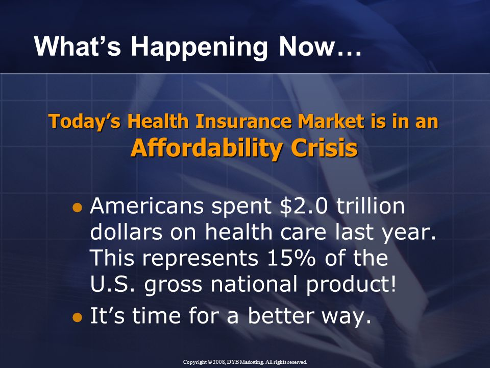 What's Happening Now… Americans spent $2.0 trillion dollars on health care last year.
