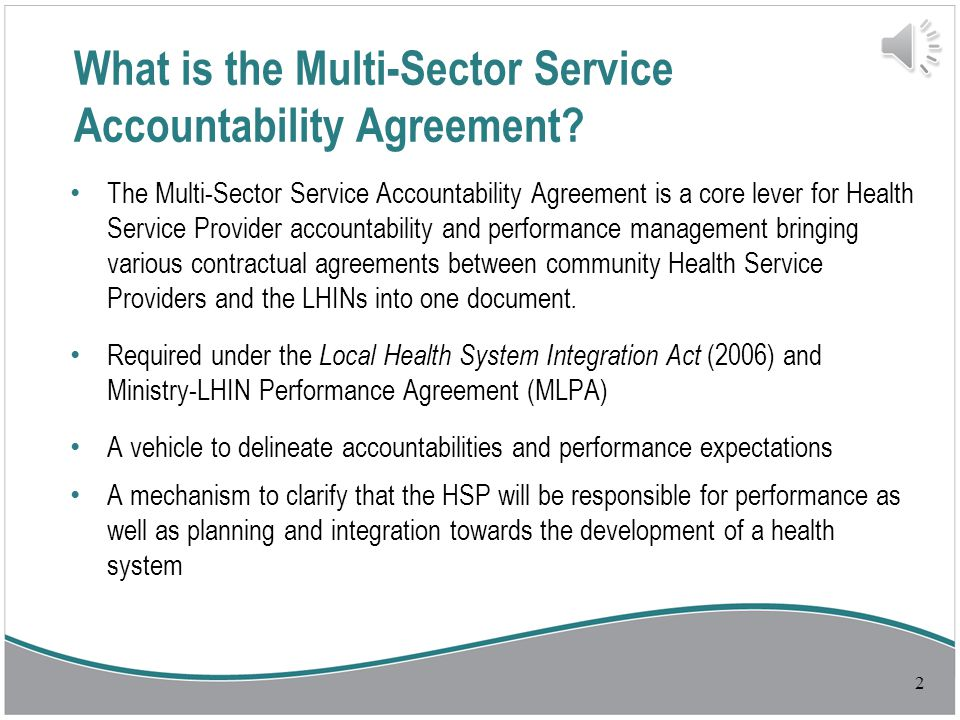 Multi Sector Service Accountability Agreement M Saa Overview