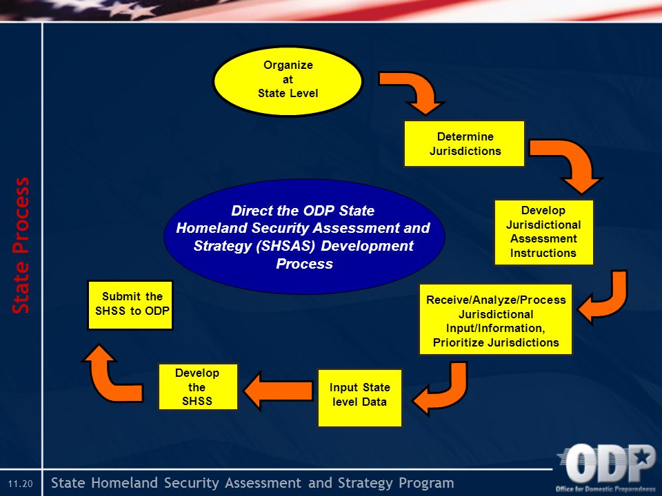 State Homeland Security Assessment and Strategy Program State Process Determine Jurisdictions Develop Jurisdictional Assessment Instructions Receive/Analyze/Process Jurisdictional Input/Information, Prioritize Jurisdictions Organize at State Level Input State level Data Develop the SHSS Submit the SHSS to ODP Direct the ODP State Homeland Security Assessment and Strategy (SHSAS) Development Process