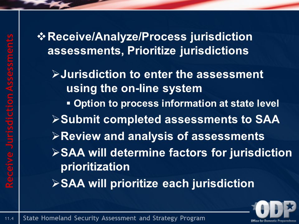 State Homeland Security Assessment and Strategy Program 11.4  Receive/Analyze/Process jurisdiction assessments, Prioritize jurisdictions  Jurisdiction to enter the assessment using the on-line system  Option to process information at state level  Submit completed assessments to SAA  Review and analysis of assessments  SAA will determine factors for jurisdiction prioritization  SAA will prioritize each jurisdiction Receive Jurisdiction Assessments