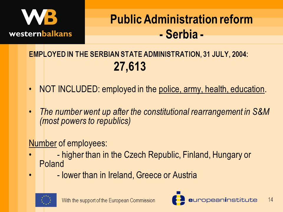 With the support of the European Commission 14 Public Administration reform - Serbia - EMPLOYED IN THE SERBIAN STATE ADMINISTRATION, 31 JULY, 2004: 27,613 NOT INCLUDED: employed in the police, army, health, education.